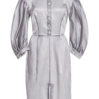Fitted Skirt Midi Dress With Voluminous Sleeves by Natasha Zinko for Preorder on Moda Operandi