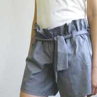 Hot Sale Shorts gathered at the waist Gray by MyLolaFashion