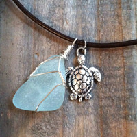 Aqua Sea glass Necklace - Silver Turtle and Sea Glass pendant - Aqua Beach Glass Necklace, Blue Sea Glass Necklace, Turquoise Sea Glass