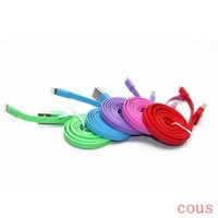 Flat Noodle Non-Tangle 8 Pin USB Sync Charger Cable Cord 1M 3FT for iPhone 5 5C 5S iPad Mini (Green-Pink-Blue-Red-Purple)