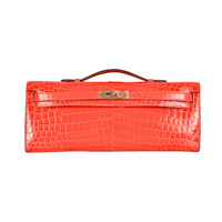 On Fire! Hermes Kelly Cut Geranium Crocodile Bag Clutch Pochette