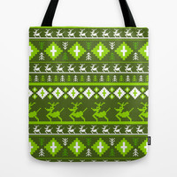 Retro Reindeer Christmas Stripe Tote Bag by markmurphycreative