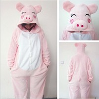 New Winter Kids' Cartoon Sleepwear Cute Onesies Animal Piece Pajamas Pink Pig Sleepwear With Hat (M)