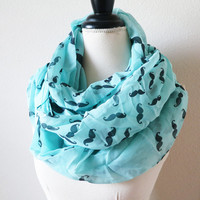 ON SALE Blue Scarf - Mustache Infinity SCarf - Scarf Shawl - Fashion Chunky Scarf - Circle Scarf - Loop Scarf - Scarves