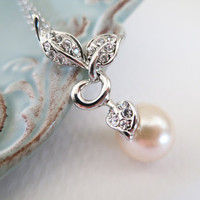 Single Pearl Necklace - Leaves and Rhinestone Bridal Necklace - Wedding Jewelllery