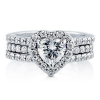 BERRICLE Heart CZ 925 Sterling Silver 2-Pc Insert Halo Bridal Ring Set 1.13 ct.tw