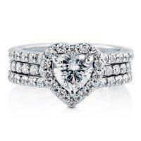 BERRICLE Heart CZ 925 Sterling Silver 2-Pc Insert Halo Bridal Promise Engagement Wedding Ring Band Set 1.13 Ct
