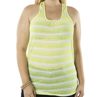 Cross Back Striped Tank - WetSeal