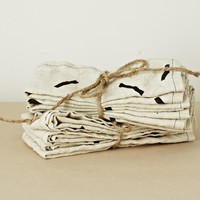 Natural Linen Napkin Set with Black Sticks