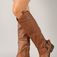 Qupid Plateau-01 Buckle Round Toe Riding Knee High Boot
