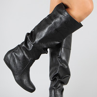 Soda Tail-H Cuff Slouchy Knee High Boot