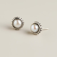 Sterling Silver and Fresh Water Pearl Stud Earrings - World Market