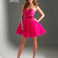 SALE! Flirt by Maggie Sottero 2013 Prom Dresses - Hot Berry Pink Strapless Notched Tulle Short Dress
