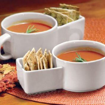Set Of 2 Soup And Cracker Ceramic Mugs