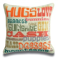 Jonathan Adler Happy Needlepoint Throw Pillow