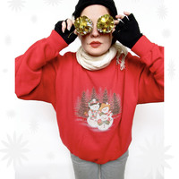 Snowman Family Christmas Pullover Sweatshirt . Ugly Christmas Sweater