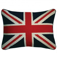 Jonathan Adler British Flag Needlepoint Throw Pillow