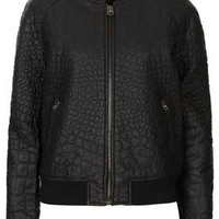FAUX LEATHER CROC BOMBER