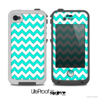The Tiffany Blue & White Chevron Pattern Skin for the iPhone 4-4s LifeProof Case