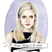 Buffy the Vampire Slayer watercolor portrait PRINT illustration Sarah Michelle Gellar Buffy Summers
