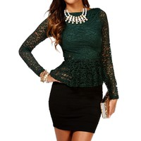 Hunter Green Lace Peplum Top