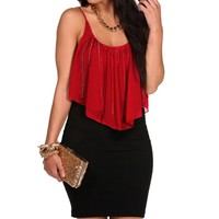 Red Chain Fringe Sleeveless Top