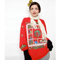 Vintage Christmas Sweater . 1980s Twelve Days of Christmas Pullover Sweatshirt . Ugly Christmas Sweater