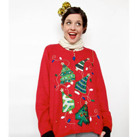 Vintage Christmas Sweater . 1980s Christmas Tree Cardigan with Jewel Appliqué . Ugly Christmas Sweater