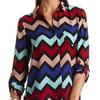 CHEVRON HI-LO BUTTON DOWN