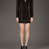 BALMAIN piped mandarin collar dress