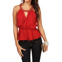 Red Chiffon Peplum Sleeveless Top
