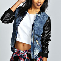 Alyssa PU Sleeve Acid Wash Bomber Jacket