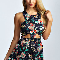 Lacey Cut Out Oriental Floral Print Playsuit