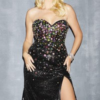 Strapless Sequined Gown by NightMoves by Allure