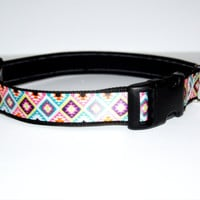 Colorful Geometric Dog Collar Adjustable Sizes (M, L, XL)