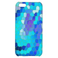 Cool Aqua Blue Violet Mosaic Pattern iphone 5C Case- Blue iphone 5C Case
