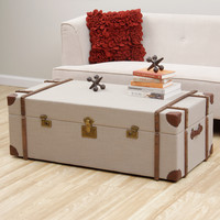 Journey Beige Linen Trunk Coffee Table