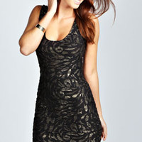 Felicity Foil Textured Bodycon Dress