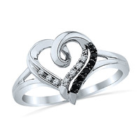 Enhanced Black and White Diamond Heart Promise Ring in Sterling Silver