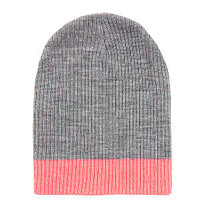 Grey and Neon Orange Trim Beanie