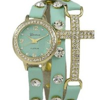 Geneva Platinum 12953712 Designer Inspired Cross w/ Czech Rhinestone wrap around watch with Czech Rhinestones-MINT GREEN/GOLD