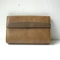 70s brown clutch. reptile handbag. shoulder bag.