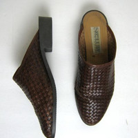 80 woven leather mules. modern slip ons. womens 8
