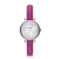 Heather Three Hand Leather Watch - Magenta