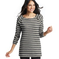 Striped Zip Shoulder Tunic