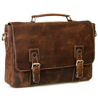 "Vintage Handmade Crazy Horse Leather Briefcase Messenger 13"" 14"" Laptop 13"" 15"" MacBook Bag(z08)"