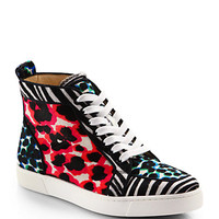 Animal-Print Pony Hair High-Top Sneakers