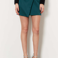 Green Duchess Satin Wrap Skirt