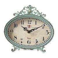 Pewter Tabletop Clock in Aqua