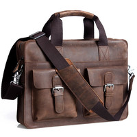 "Vintage Handmade Crazy Horse Leather Briefcase / Satchel / 12"" 13"" Laptop 11"" 13"" MacBook Bag(z07)"